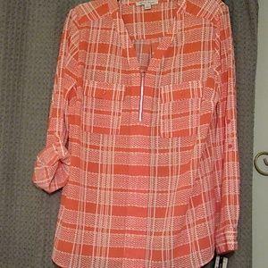 Orange and white blouse.  NWT